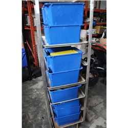 LARGE LOT OF BLUE TOTES OF ELECTRICAL HARDWARE