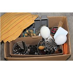 BOX OF UTENSILS AND KITCHEN ITEMS