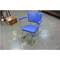 BLUE LEATHER CHROME ROCKING CHAIR