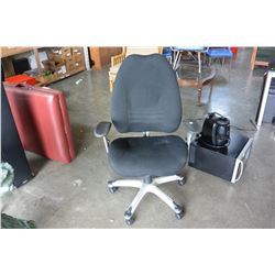 BLACK LEATHER GAS LIFT CHAIR