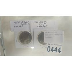 TWO 1968 CANADIAN SILVER DOLLARS