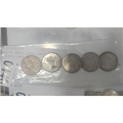 FIVE EARLY 1960S CANADIAN FIFTY CENT COINS