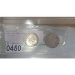 1964 AND 1961 CANADIAN SILVER DOLLARS