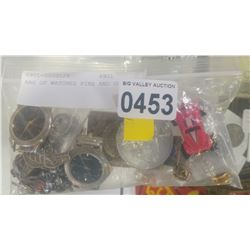 BAG OF WATCHES PINS AND COINS