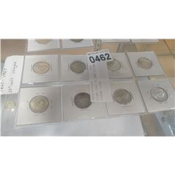 EIGHT 1867 TO 1967 25 CENT COUGAR COINS