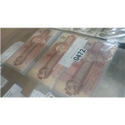 3 CANADIAN TWO DOLLAR BILLS 1986