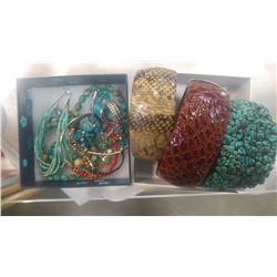 TURQUOISE AND CORAL JEWELLRY AND THREE BANGLES