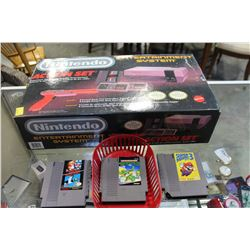 NINTENDO ENTERTAINMENT SYSTEM AS NEW WITH ORIGINAL BOX PACKAGING AND 3 GAMES