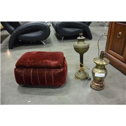 VINTAGE MOHAIR SEWING STOOL AND TWO ANTIQUE BRASS LAMP BASES
