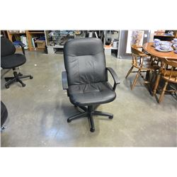 BLACK LEATHER GAS LIFT OFFICE CHAIR