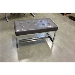 MODERN CHROME AND LEATHER BENCH