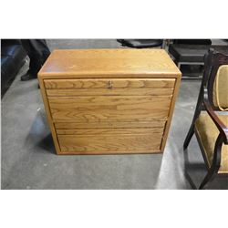 OAK 2 DRAWER LATERAL FILE CABINET WITH KEY