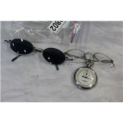 TWO EYE GLASSES AND STOP WATCH
