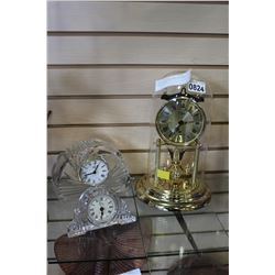 GLASS DOME CLOCK AND TWO CRYSTAL DESK CLOCKS