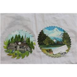 TWO HAND PAINTED SAW BLADES BY IRIS JOHNSON
