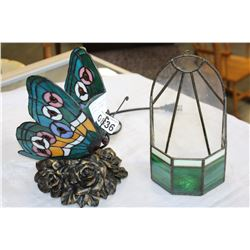STAINLED GLASS BUTTERFLY LAMP AND WALL POCKET