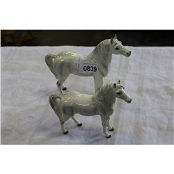 TWO CHINA HORSES