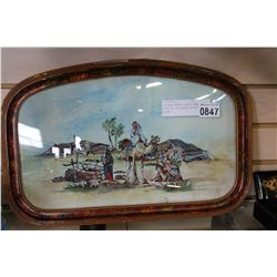 VINTAGE BUBBLE GLASS FRAME WITH OIL ON CANVAS BEDOUIN SCENE
