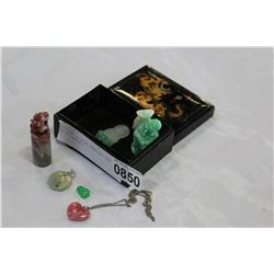 EASTERN LACQUER JEWELLRY BOX WITH CONTENTS
