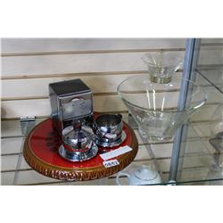 ART DECO LAZY SUZAN GLASS CHIP AND DIP SET