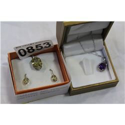 EARRINGS AND PENDANT AND AMETHYST NECKLACE