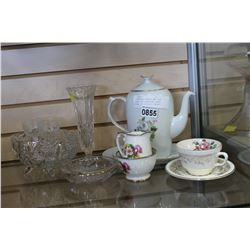 COPENHAGEN TEAPOT AND TRAY CREAM AND SUGAR AND OTHER CHINA AND CRYSTAL PIECES