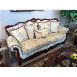 BEIGE FLORAL CHERRY WOOD SOFA & LOVE SEAT SET