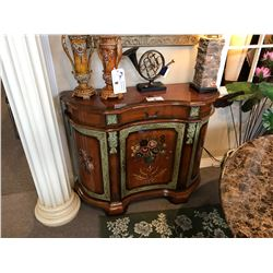 DARK WOOD FLORAL 1 DOOR/1 DRAWER CONSOLE TABLE