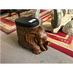 WOODEN CARVED ELEPHANT FOOT STOOL, PAIR OF ELEPHANT STATUES & 2 FISH STATUES