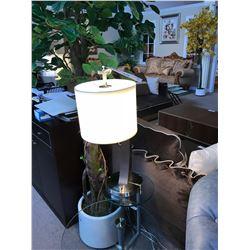 MODERN DARK WOOD & NICKEL TABLE LAMP