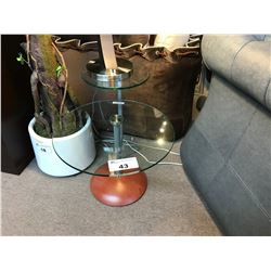 2 TIER CLASSIC CHERRY AND GLASS  END TABLE