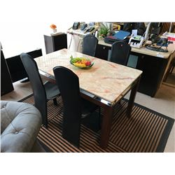 MARBLE TOP WITH CHROME EDGE DINING TABLE WITH 4 MODERN LEATHER CHAIRS