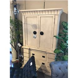 MODERN WHITE WOOD 2 DOOR 2 DRAWER ENTERTAINMENT ARMOIRE