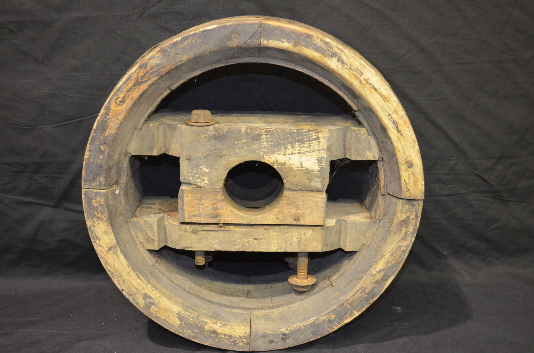 Large Wooden Antique Pulley