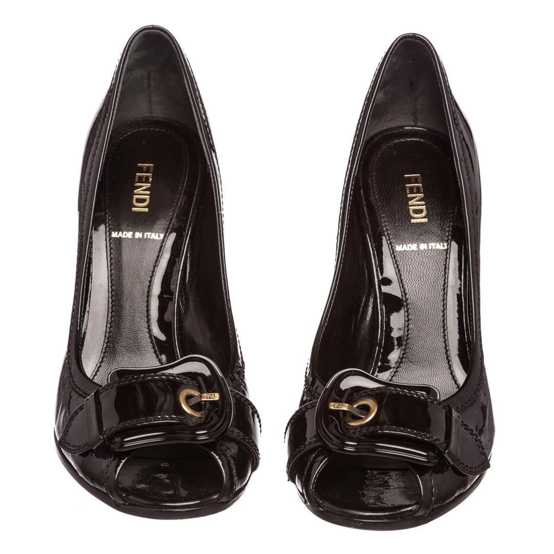 e51ed216f8 ... Image 2 : Fendi Black Patent Leather B Buckle Peep Toe Heels Pumps Shoes  36.5 ...