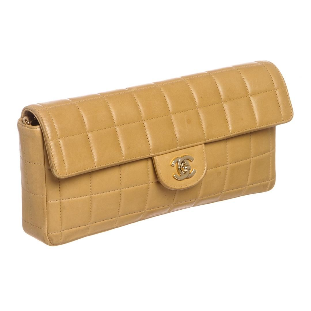 b3188824529a Chanel Beige Lambskin Chocolate Bar East West Flap Bag