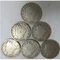 1911 Liberty Head Nickels