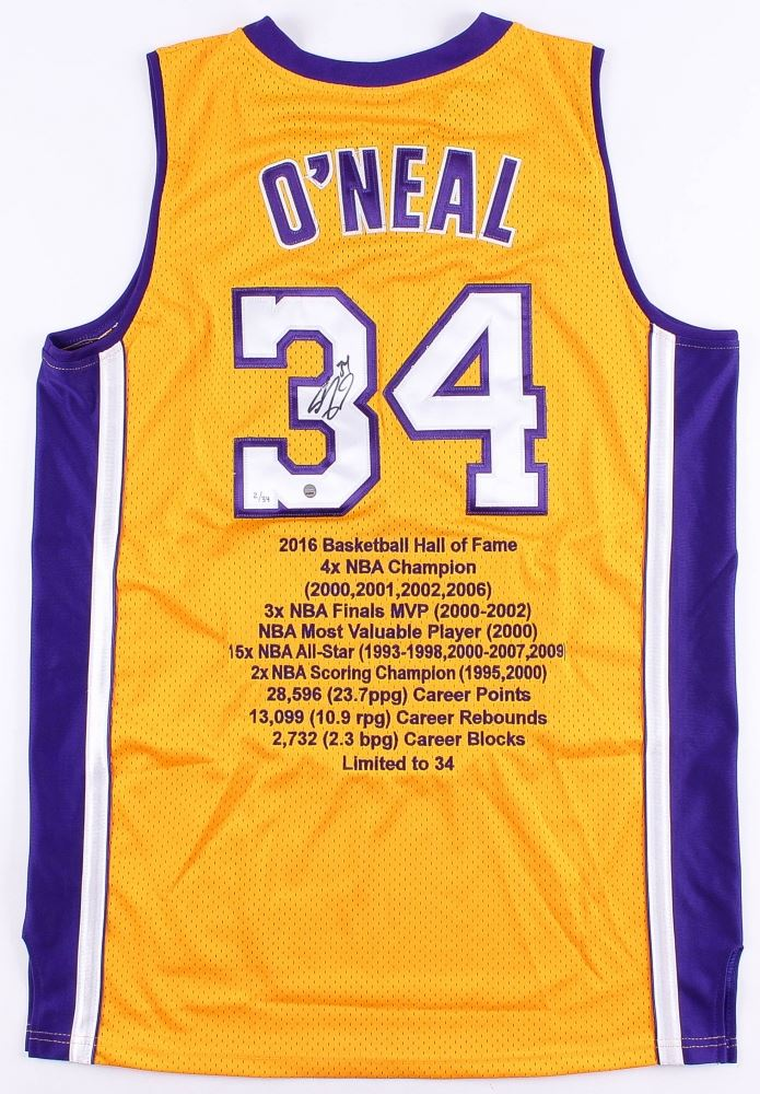 98bba5f4873 Image 1 : Shaquille O'Neal Signed LE Lakers Career Highlight Stat Jersey  (Steiner