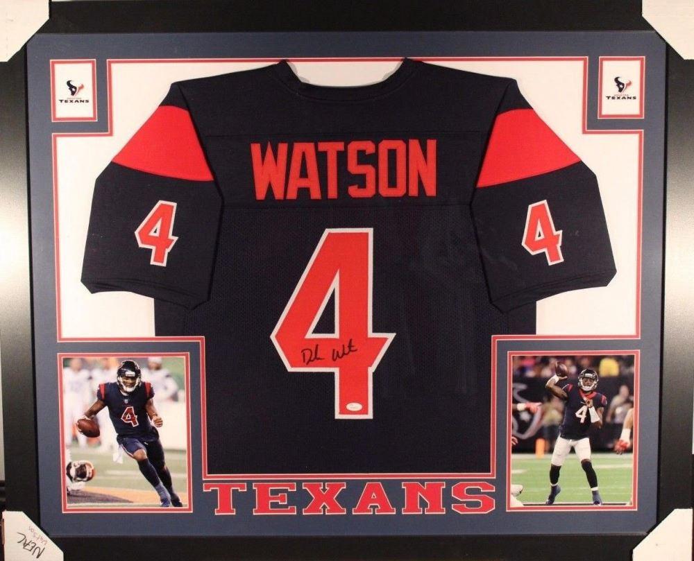 f8e47338e96 Image 1   Deshaun Watson Signed Texans 35x43 Custom Framed Jersey (JSA COA)