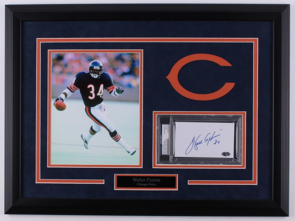 d204fd3a3b4 Image 1   Walter Payton Signed Bears 18.25x24.5 Custom Framed Index Card  Display