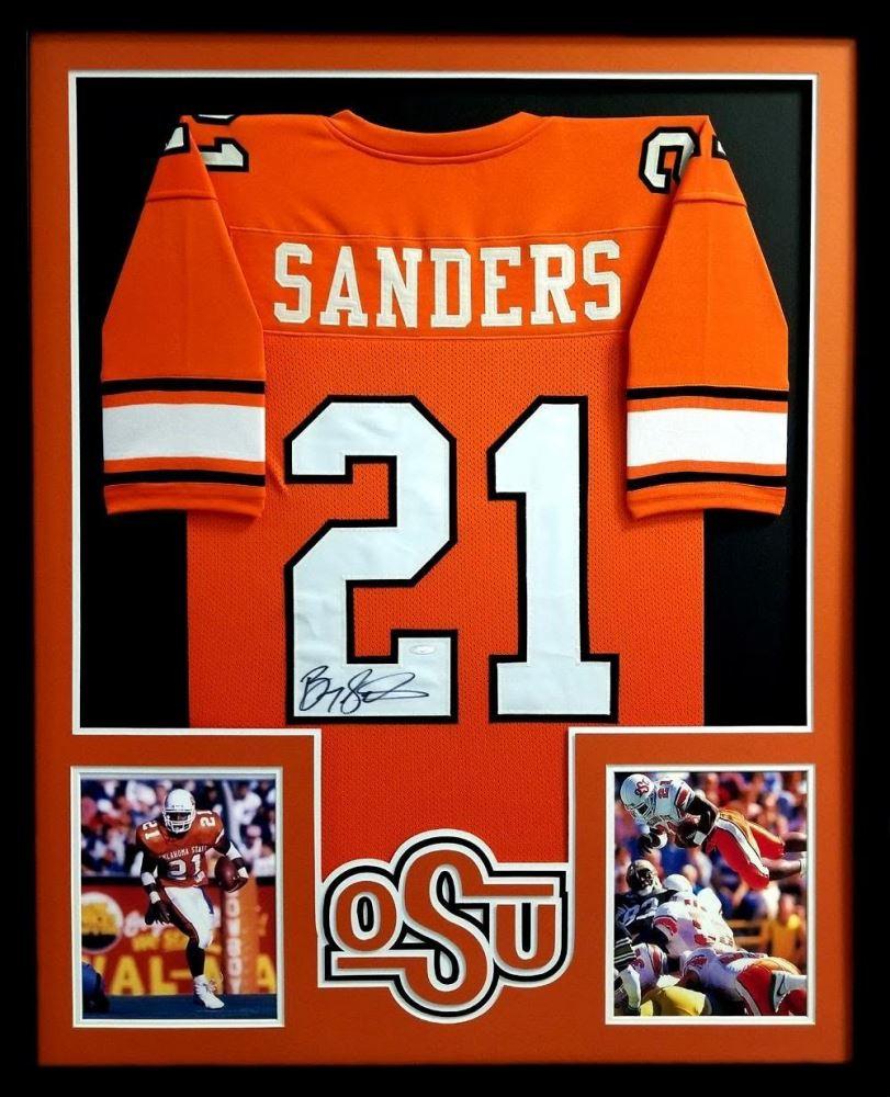 d2814f3257e Image 1 : Barry Sanders Signed Oklahoma State Cowboys 34x42 Custom Framed  Jersey (TriStar)