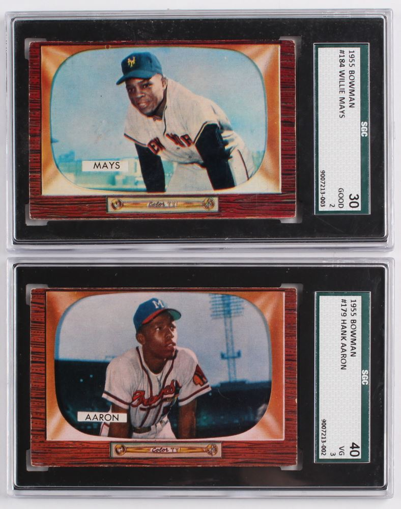 Lot Of 2 1955 Bowman Baseball Cards With 184 Willie Mays 179