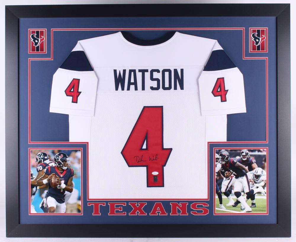 8fe6d38bb07 Image 1   Deshaun Watson Signed Texans 35x43 Custom Framed Jersey (JSA COA  Watson Hologram