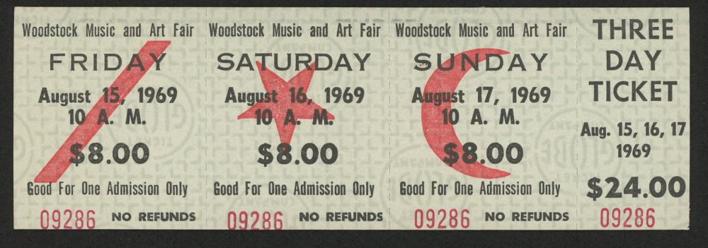 Woodstock Authentic Three Day Unused Ticket from August 15