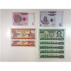 Congo and Mozambique 1980 to 1987 Replacement Notes.