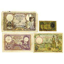 Banque de l'Alegerie, 1942-1944, Quartet of Issued Notes