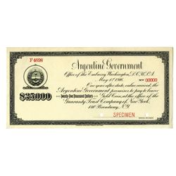 Argentine Government, 1916, $25,000 In Gold Coin Specimen Note Treasury Note.
