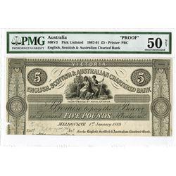 English, Scottish & Australian Chartered Bank, 1889 Unlisted Proof Banknote.