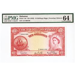 Bahamas Government, ND (1953) Issued Banknote.