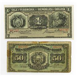 Tesoreria dela Republica de Bolivia, 1902, Issued Pair of Banknotes.